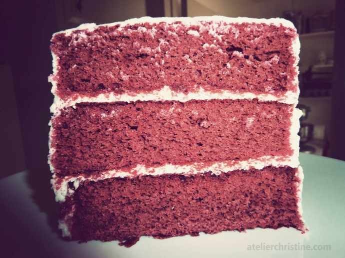 Layered Red Velvet Cake with Creme Fraiche Frosting Recipe ...