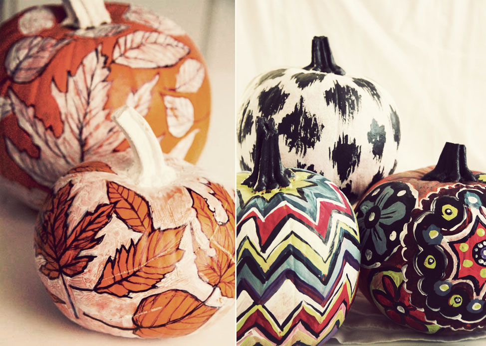 Round up halloween pumpkin carving and decorating ideas Flower painted pumpkins