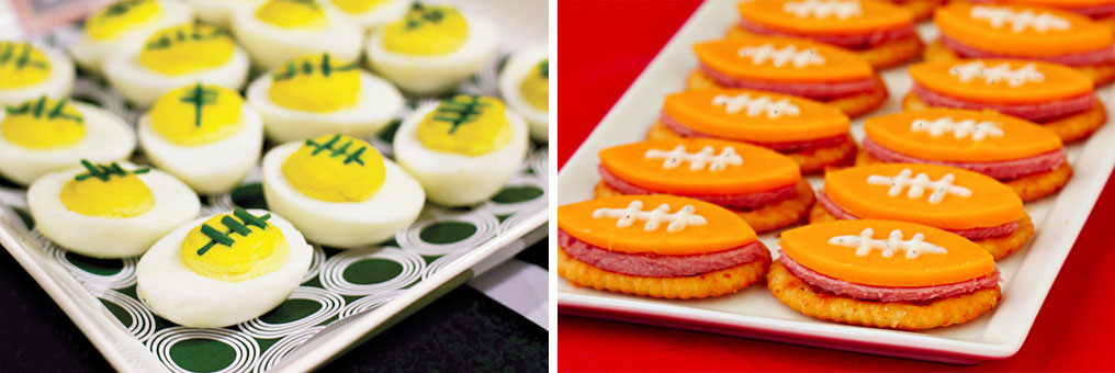 Football deviled eggs with Chives / Football bites with Summer Sausage ...