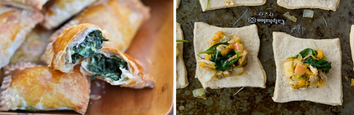 Mini Spinach and Cheese Pockets / Turkey, Cheddar and Apple Hand Pies ...