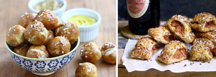 Soft Pretzel Tots with Dipping Sauces / Chilli Sausage Puff Pastry ...