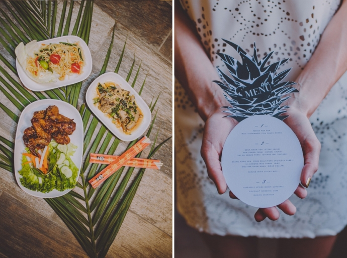 A Retro Tropical Wedding Photo Shoot at an Industrial Venue; Amber Gress Photography.