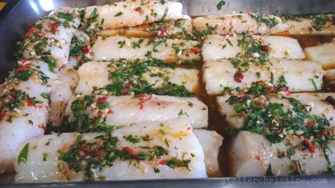 Oven-Roasted Wild Cod + Potatoes With Cilantro-Garlic-Lemon Sauce.