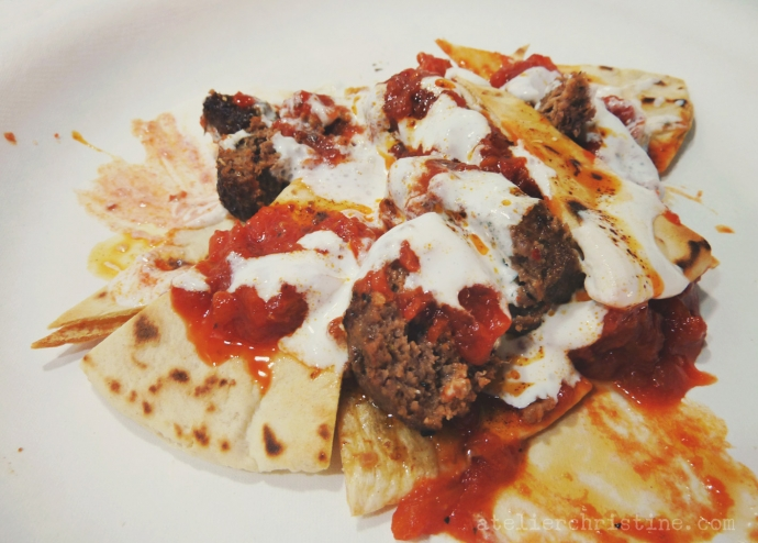 Grilled Beef Patties with Tomato Sauce + Yogurt on Pita Bread