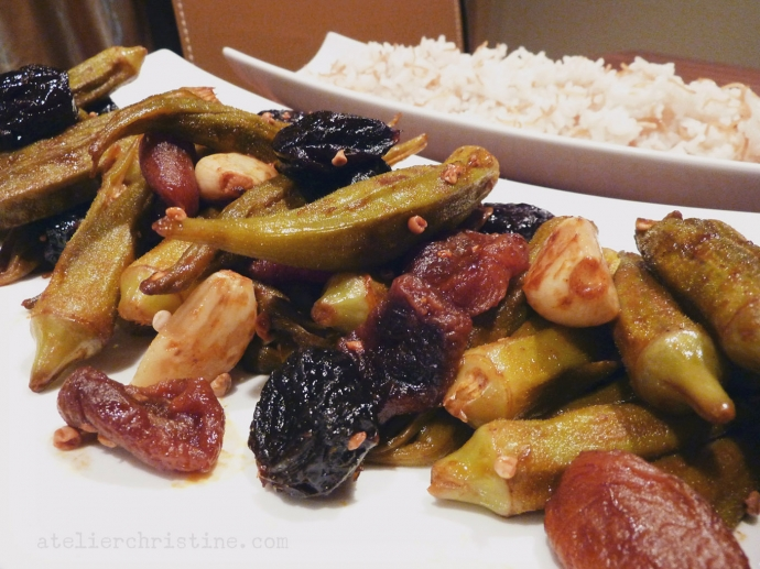 Bamia Mishmisheeye | Syrian Sweet & Sour Okra Sautéed in a Tamarind Glaze + Vermicelli Rice Pilaf