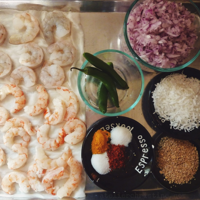 Steamed Shrimp with Mustard Seeds + Grated Coconut