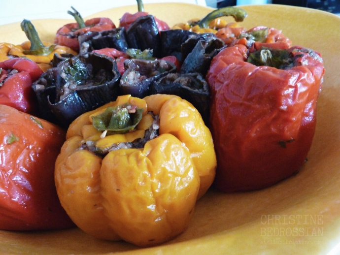 Aromatic Herbed Rice-Stuffed Bell Peppers and Sun-Dried Eggplants