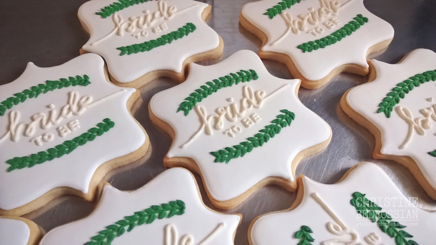 Le Shoppe Greenery Decorated Sugar Cookies For A Winter Bridal